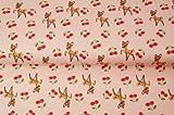 Stoff Hirsch Jersey - Hirsch Bambi rosa - Schneider- &