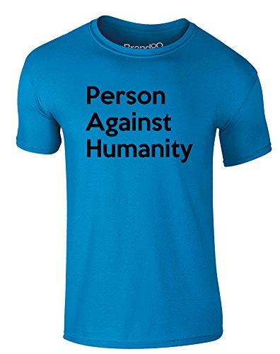 Brand88 - Person Against Humanity, Erwachsene Gedrucktes T-Shirt Azurblau/Schwarz