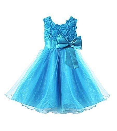 Live It Style It Ragazze Rosa Fiocco Abito Fiore Principessa Senza Maniche Formale Partito Matrimonio Blue 4-5 Anni