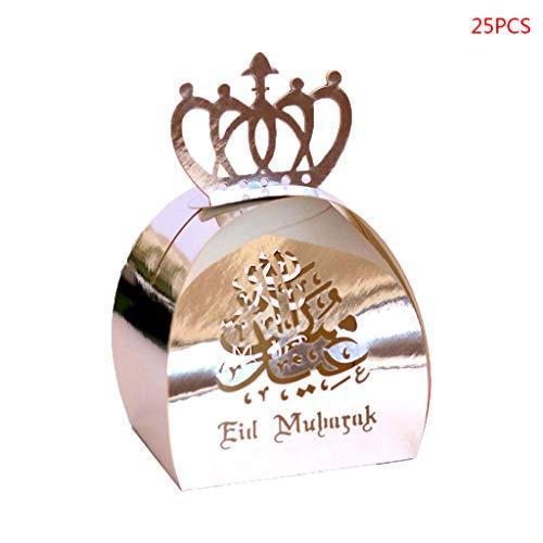 Watermk 25 stücke Laser Cut Hohl Pralinenschachtel Perlglanz Papier Hochzeit Bevorzugt Kästen Muslim Eid Mubarak Ramadan Party Dekoration