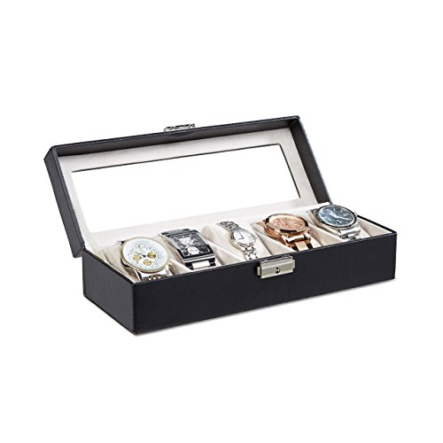 Relaxdays Uhrenbox Kunstleder, Uhrenkasten für 5 Uhren, Uhrenkoffer verschließbar, HBT: 7, 5 x 27, 5 x 10, 5 cm, PU-Leder, Schwarz, 10.5 x 27.5 x 7.5 cm