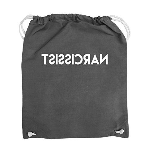 Comedy Bags - NARCISSIST - GESPIEGELT - Turnbeutel - 37x46cm - Farbe: Schwarz / Pink Dunkelgrau / Weiss