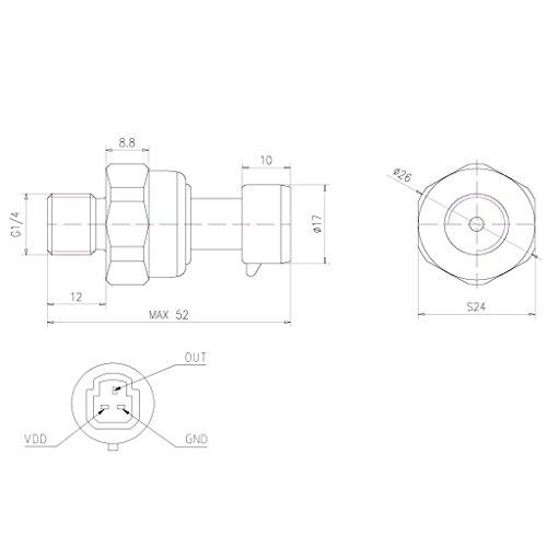 4 Pressione 0-0,5 Mpa Per Laria Acqua Gas Gasolio Olio Combustibile Sensore Trasduttore G1