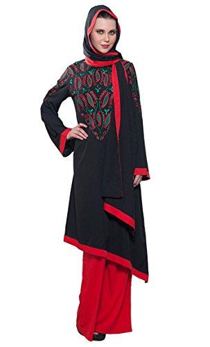 East Essence - Robe - Manches Longues - Femme Multicolore - Noir/rouge