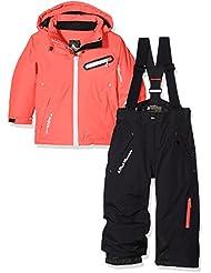Peak Mountain Fastec conjunto de esquí para niña, color Corail/Noir, tamaño 4 años (talla del fabricante: 4 ans)