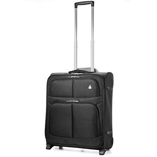 Aerolite 56x45x25 Easyjet British Airways Jet2 Maximum Cabin Allowance 60L Lightweight Carry On Hand Cabin Luggage Travel Suitcase with 2 Wheels (Black)