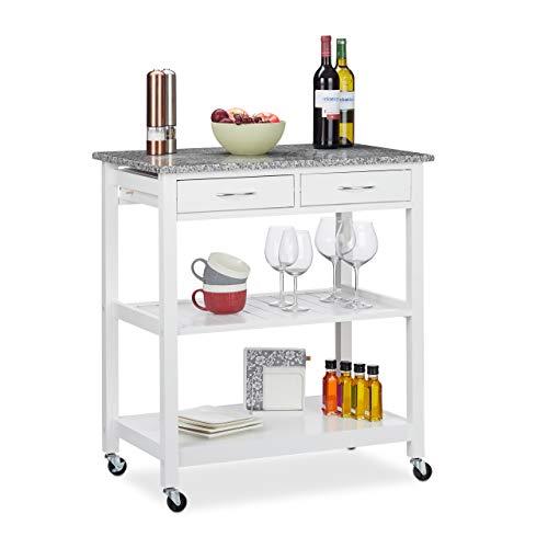 Relaxdays Küchenwagen, moderner Servierwagen m. Arbeitsplatte, Landhausstil, 2 Ablagen, 2 Schubladen, 87x78x48,5cm, weiß