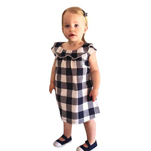 Huihong Baby Mädchen Plaid Drucken Prinzessin Party Kleider Freizeit Kleidung (Weiß, 3T-105-110CM)