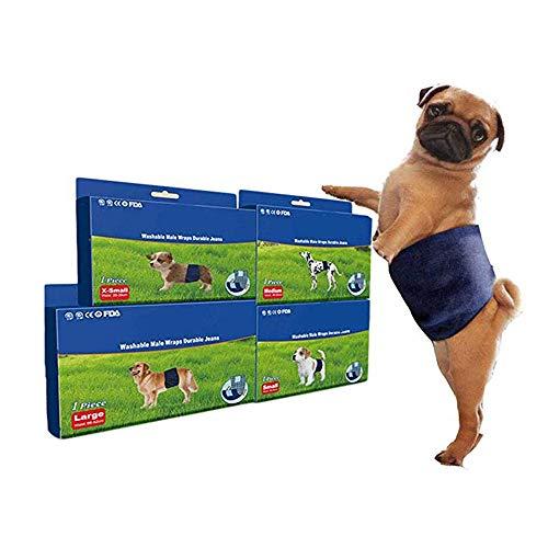 Windeln für männliche Hunde - Einweg-Windeln für männliche Hunde Jeans Style Deodorize and Antibacterial Doggy Puppy Nappies für Hunde/Katzen,XS -