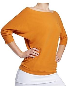 Esparto Sadaa Camiseta de manga media, de algodón orgánico, color amarillo curry, tamaño large