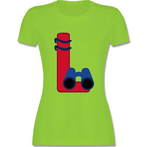 Anfangsbuchstaben - L Schifffahrt - tailliertes Premium T-Shirt mit Rundhalsausschnitt für Damen Hellgrün