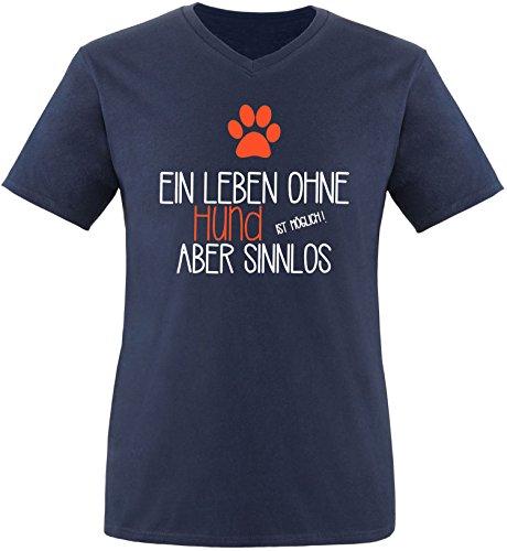 EZYshirt® Ein Leben ohne Hund ist möglich ! Aber sinnlos Herren V-Neck T-Shirt Navy/Weiss/Orange