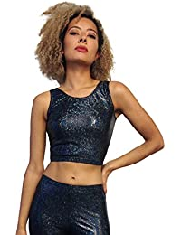 c399335588 MADWAG Holographic Black Crop TOP