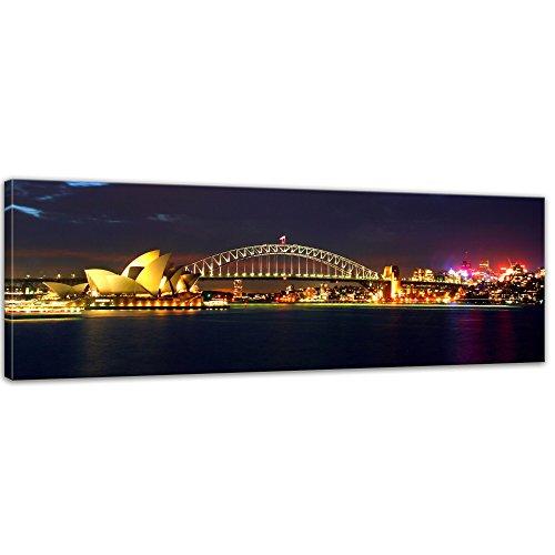 Kunstdruck - Sydney Opera House und die Harbour Bridge - Bild auf Leinwand - 160 x 50 cm - Leinwandbilder - Bilder als Leinwanddruck - Wandbild von Bilderdepot24 - Städte & Kulturen - Australien - Sydney bei Nacht