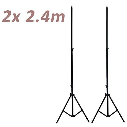 RPGT 2X 240cm Support dÉclairage Fixation Trépied Lumière de Lampe Eclairage Light Stand Kit pour Photographie et VR avec