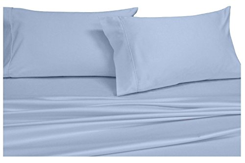 Solid Bed Sheet Set, 100% Baumwolle, Fadenzahl 300, Satin, deep Pocket Blatt, durch royal Hotel, baumwolle, blau, Twin (Hotel Blatt Twin)