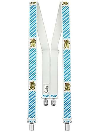Xeira - Bretelles de haute qualité pour Femmes / Hommes avec 4 clip extra fort 3,5cm large en 30 couleur design differentes - Fabriqué en Allemagne (Bavière)