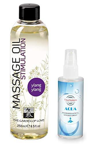 Massage Set Massageöl Sexöl Erotiköl Öl Körperöl Ylang-Ylang Aroma (250ml) ein wasserbasiertes Gleitgel Gleitmittel (100 ml) von Feuchtalarm für Vorspiel Intim-Bereich Vagina Penis Body Sex Erotik