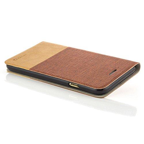 Custodia Apple iPhone 6 / 6S (4,7) Pellicola Protettiva 3D Flip Wallet [zanasta Designs] Case Copertura con Portafoglio - Pieghevole con Porta Carte, Alta Qualità Grigio [Bordo Plastica Bianca] Rosso-Marrone