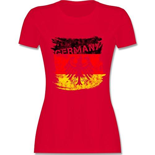 EM 2016 - Frankreich - Germany mit Adler Vintage - tailliertes Premium T-Shirt mit Rundhalsausschnitt für Damen Rot