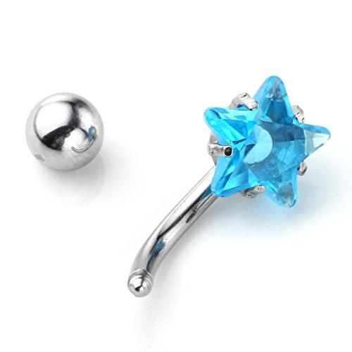 JSDDE Piercing de Nombril - Acier Inoxydable Chirurgical - Tige en 1.6mm x 12mm, Etoile en Cristal CZ Transparent de 8mm Bleu Marine