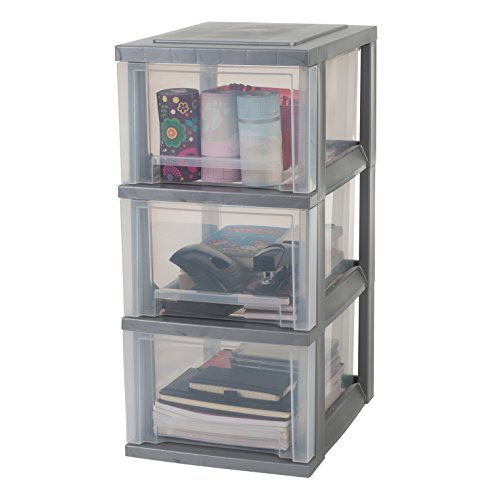 Iris Ohyama, Storage Chest on Wheels – Smart Drawer Chest SDC-303 – Plastic, Silver, 3 x 16 L, L39 x W29 x H62 cm