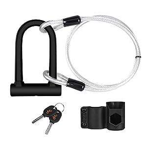Candado en U, U Lock DINOKA Candado Bicicleta Alta Seguridad de 16mm con Abrazadera de Soporte + 1200mm de Cable de Acero trenzado flexible.