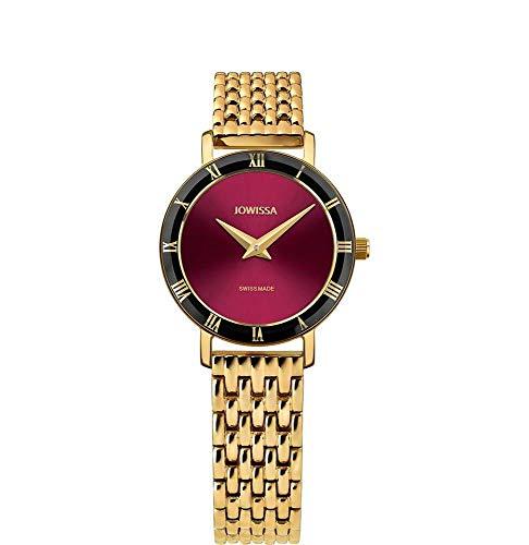 Jowissa Roma Swiss J2.291.S - Reloj de Pulsera para Mujer, Color Burdeos y Dorado