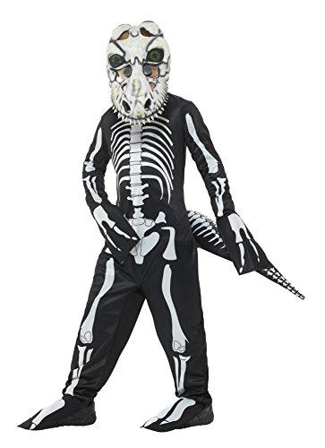 x T-Rex Skelett Kostüm, Ganzkörper Anzug, Schwanz und Maske mit linsenförmigen 3D Augen, Alter: 7-9 Jahre, 48006 (3d Skelett Kind Kostüme)