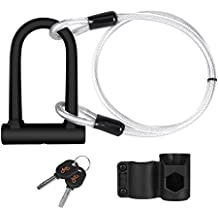 Y&S Bike U Lock, Heavy Duty High Security D Shackle Bike Lock with 4FT/1.2M Steel Flex Cable and Sturdy Mounting Bracket for bikes, bicycle,motorbikes, motorcycles