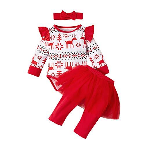 Deloito Neugeborenes Weihnachten Kleidung Säugling Mädchen Spielanzug Cartoon Tierdruck Langarm Strampler Mesh Tüll Hose Stirnband Dreiteilig (Rot-A,80/0-1 T)