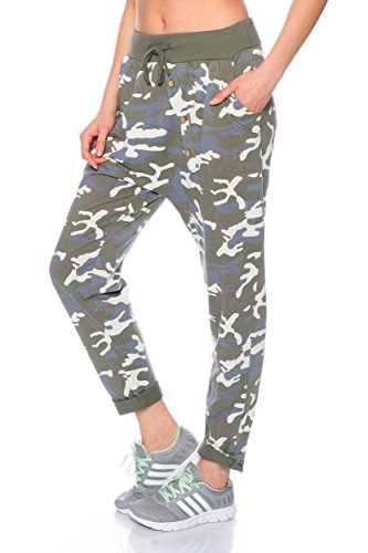 AM1204 Damen Jogginghose Freizeithose im Camouflage Design Khaki