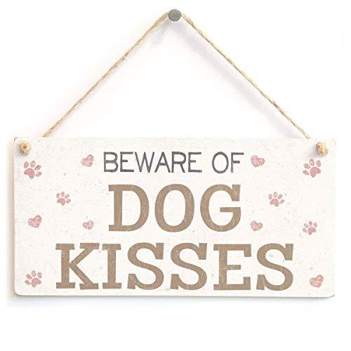 Cara King Beware of Dog Kisses Pretty Doggie Xmas Wood Signs Design hängende Geschenk Dekor für Home Coffee House Bar 5 x 10 Zoll -