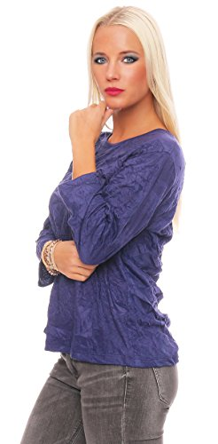 Zarmexx Damen Basic Shirt Crash Optik Crinkle Baumwollshirt Oberteil Bluse Business Casual Veilchen