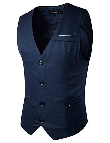 Boom Fashion Gilet Veston Veste Costume Sans Manches Slim Fit Homme mode Bleu Three