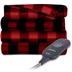 Sunbeam Electric Heated Fleece Throw, 50 x 60, Red/Black Plaid