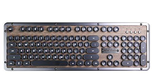 AZIO Retro Classic ELWOOD mechanische Bluetooth Tastatur, vintage look mit deutschem Layout Classic Bluetooth