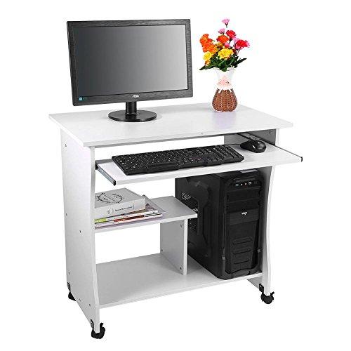Yosoo scrivania porta pc tavolo per computer desk laptop desk da studio,studio ufficio scaffale con ruote, con ripiani tastiera ripiano scorrevol,80 * 49.5 * 76cm