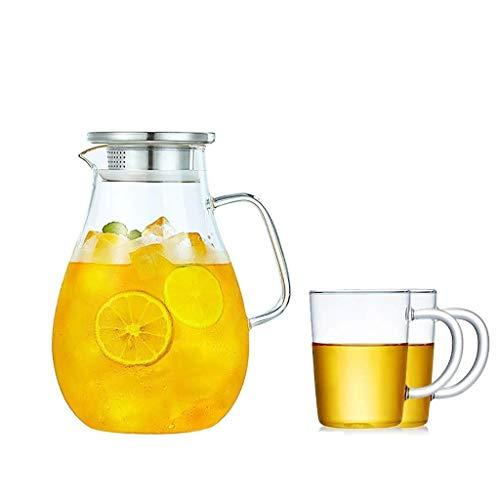 LZXSHUIHU Glaskrug mit Deckel 2,5 Liter, Glas Wasserflasche mit großem Fassungsvermögen und langlebig ist sehr geeignet für Saft Kaffee Milch Wasser Geschenk für die Familie (Color : B)