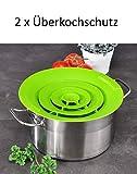 Haushalt International Universal Silikon-Überkochschutz Kochwasser-Spritzschutz Überlaufschutz Silikonschutz Grün 12247 (2 x Überkochschutz)