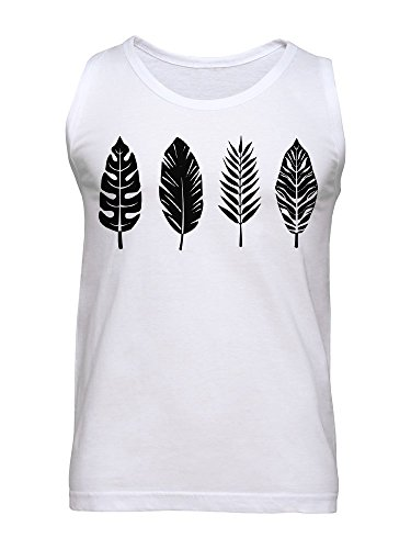 Palm Leaf Bird Feather Graphic Men's Tank Top Medium