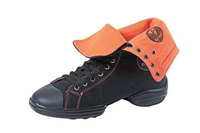 RUMPF 2 Star Sneaker chaussure de danse baskets en toile chaussures à lacets noir/orange pointure 43/43.5