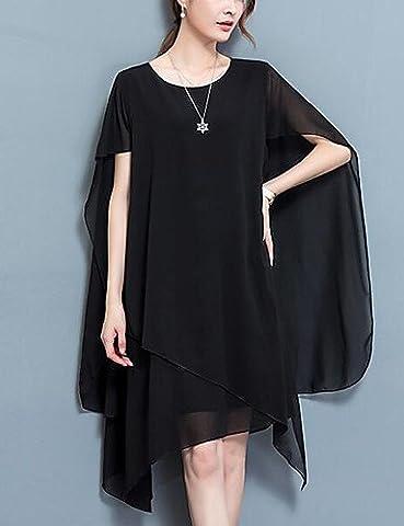CH&TOU Mousseline de Soie Robe Femme Grandes Tailles Chic de Rue,Couleur Pleine Col Arrondi Asymétrique Sans Manches Polyester Eté Taille Normale , black , 3xl
