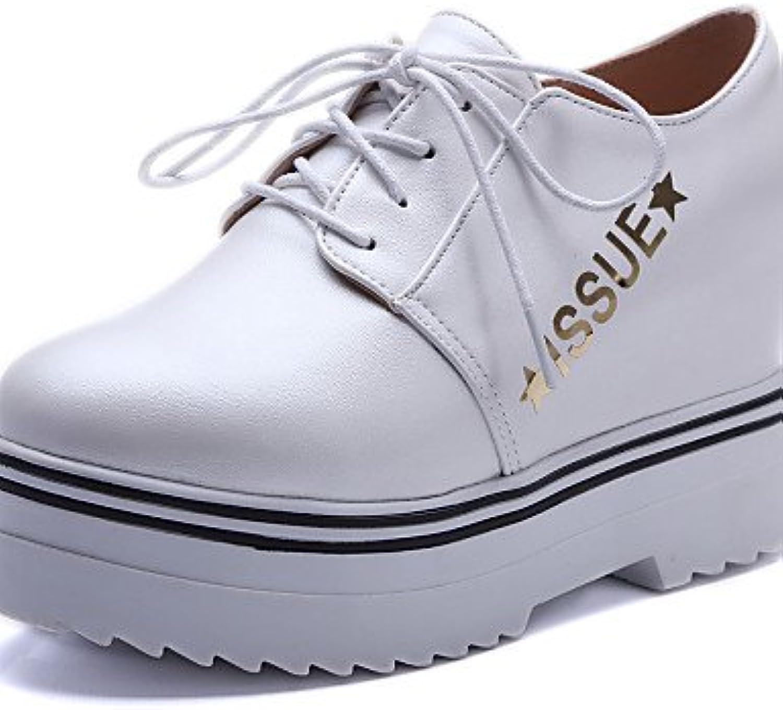 ZQ hug Zapatos de mujer-Plataforma-Plataforma / Creepers / Comfort / Punta Redonda-Oxfords-Exterior / Vestido-Semicuero-Negro...