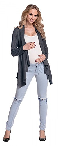 Happy Mama Femme Maternité Blazer grossesse effet cascade cardigan. 320p Graphite Mélange