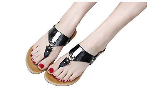 colorfulworld aux Femmes Tongs Chaussures en Sandale des Boucles dEurope Noir