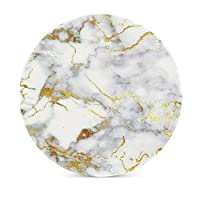 Mrsangelalouise Bhuis Italian Gold Marble Ceramic Coaster Glass Cup Holder Coffee Mug Place Mat for Drinks 1 Pack