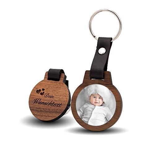CHRISCK design Schlüsselanhänger mit Fotodruck und Gravur / Echtes Holz und absolut kratzfestes Foto / schöne Geschenkidee für Partner, Freunde, Familie(M)