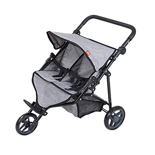 KNORRTOYS.COM 16722 Knorrtoys 16722-Zwillingspuppenwagen Duo Grey Puppenwagen, Jeans Grau