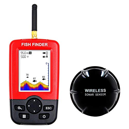 Fishfinder Wireless Tragbarer Fisch-Finder 100m Sonar Tiefe wasserdicht Fishfinder mit Handheld-LCD-Monitor, für Boot Beach Sea Ice Angeln Tiefe Angeln Finder